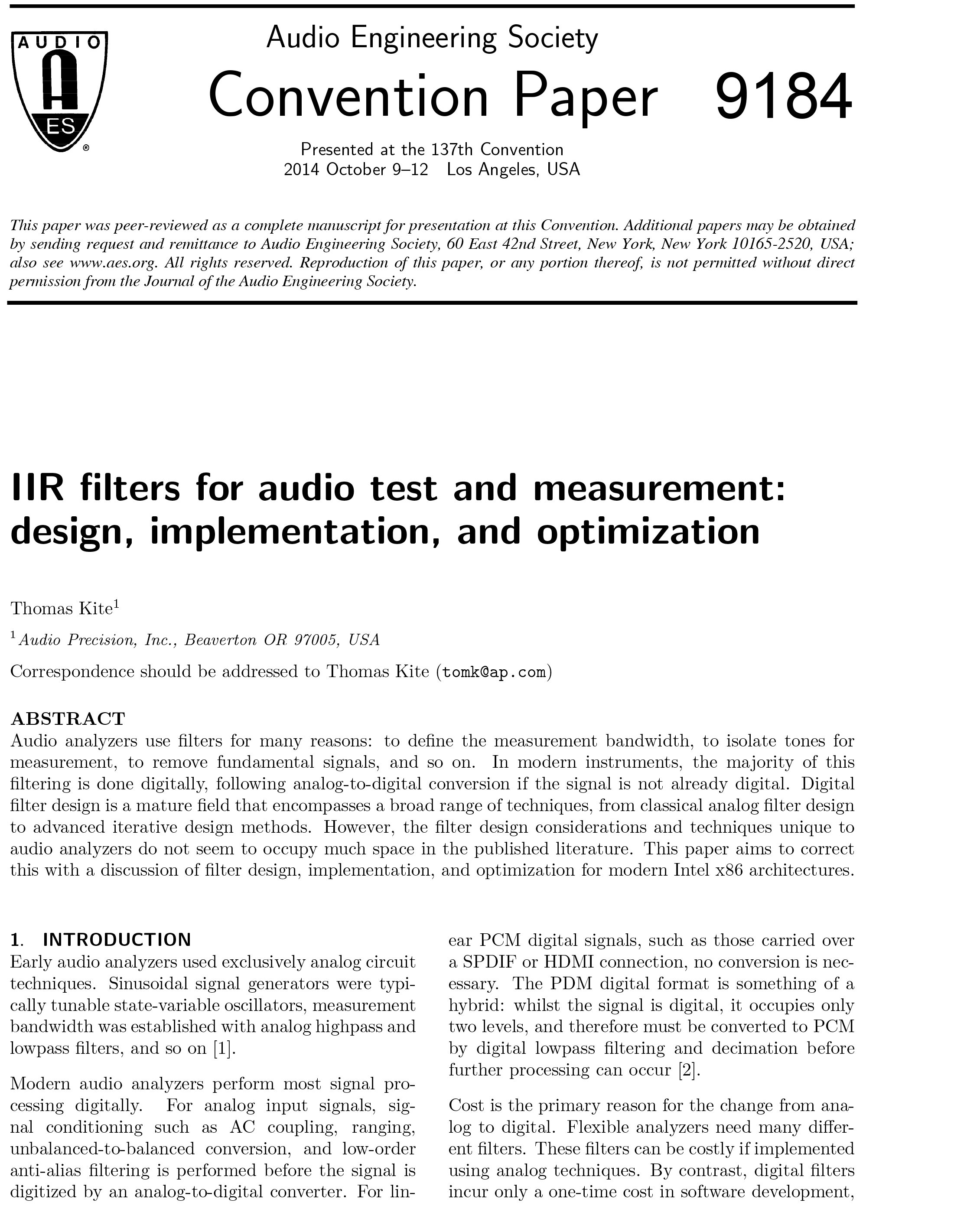 Aes E Library Iir Filters For Audio Test And Measurement Design Frequency Oscillator Variable Circuit Implementation Optimization