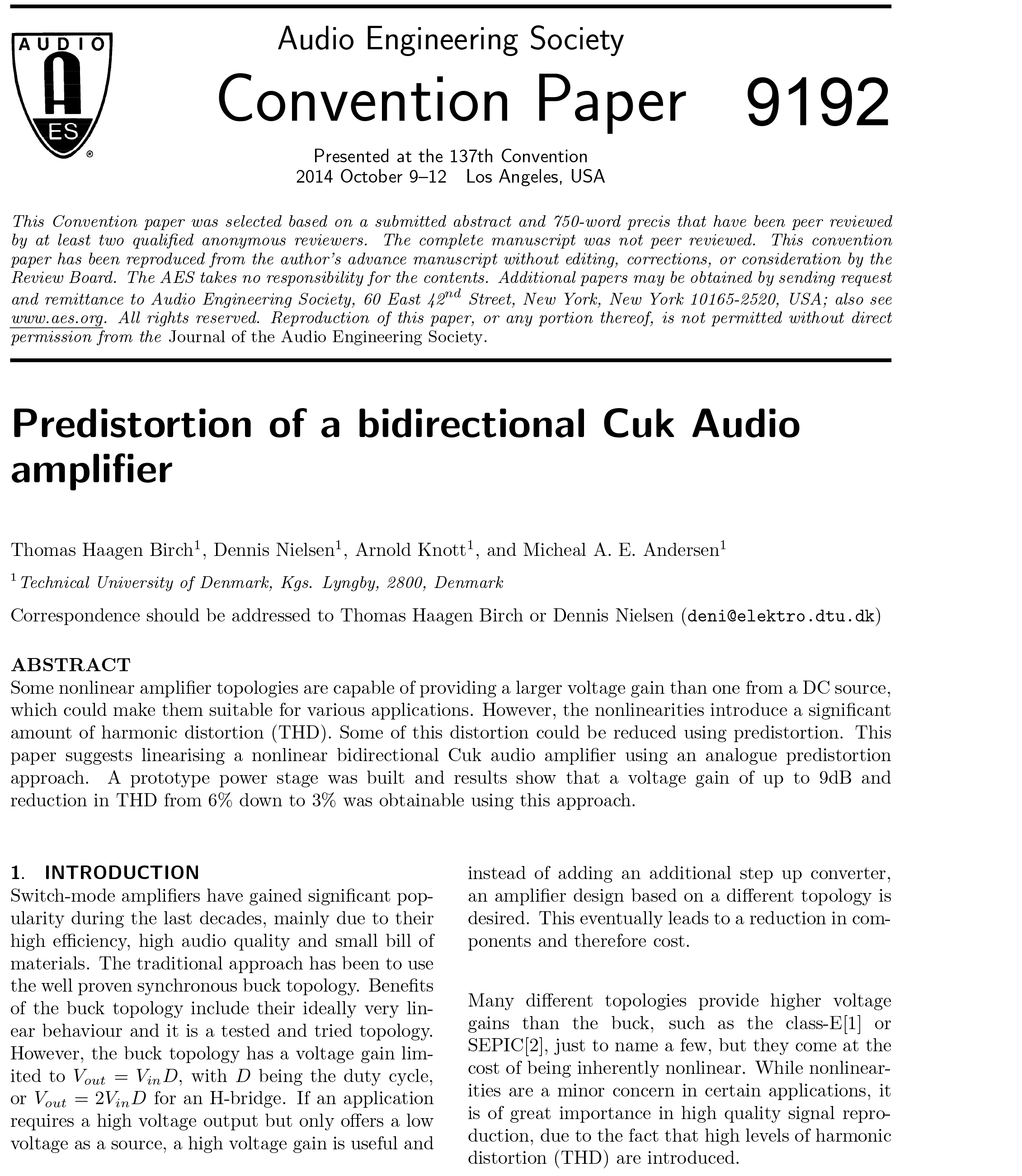 Aes E Library Predistortion Of A Bidirectional Cuk Audio Amplifier 18w Circuit And Explanation Electronic Circuits