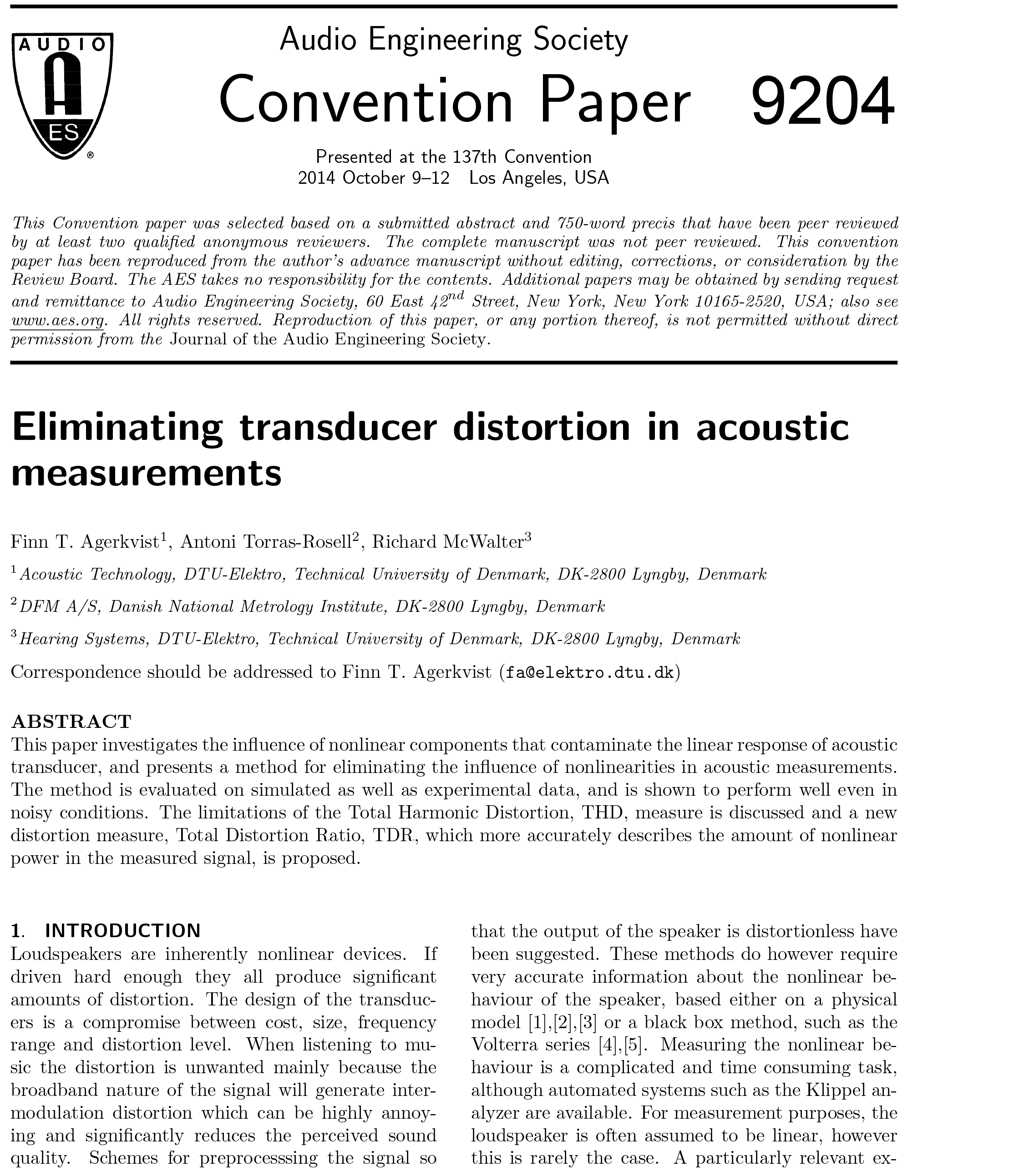 Aes e library eliminating transducer distortion in acoustic aes e library eliminating transducer distortion in acoustic measurements falaconquin