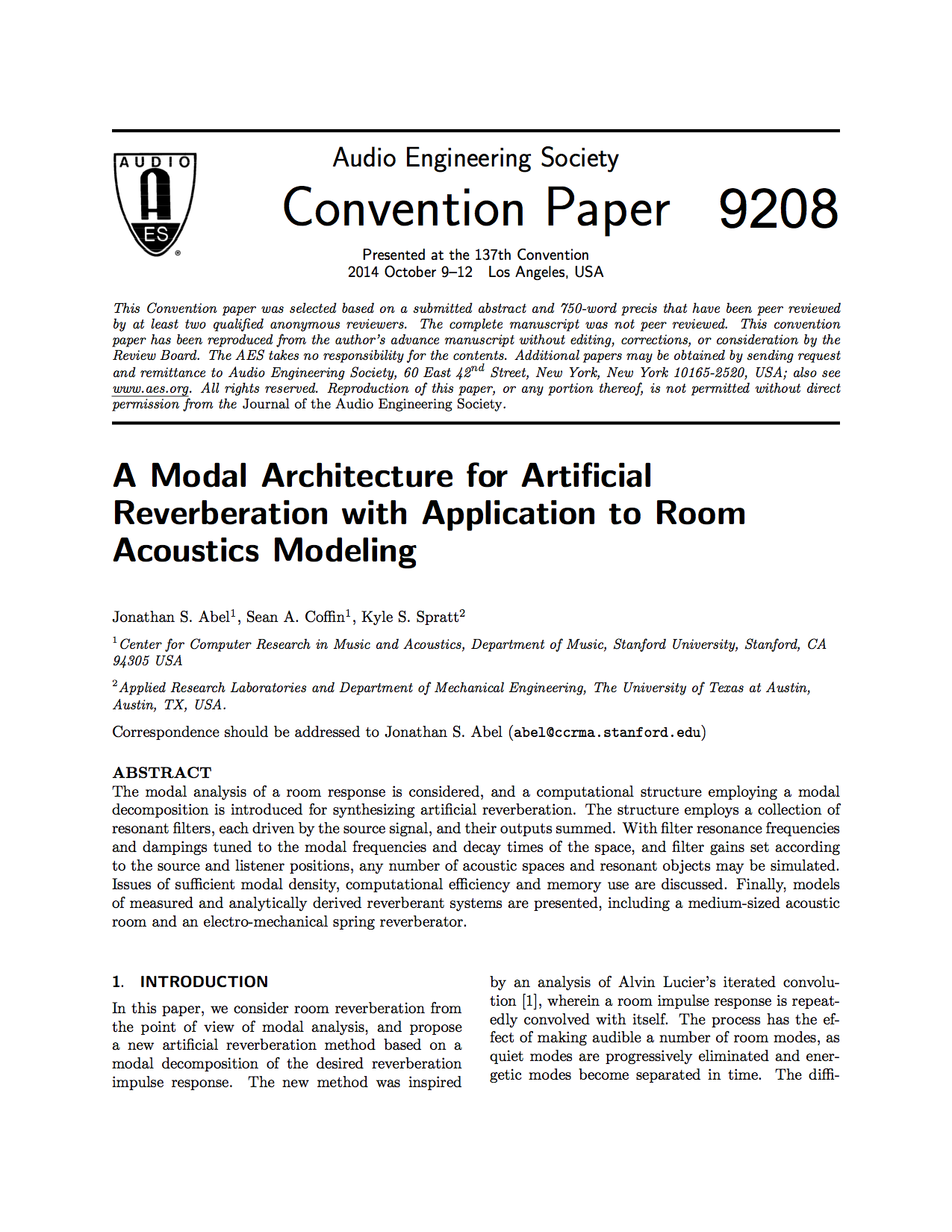 Aes E Library A Modal Architecture For Artificial Reverberation The Wiring This Is Pretty Straightforward Some Of Items Xm With Application To Room Acoustics Modeling