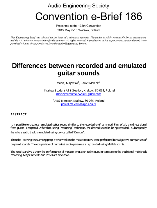 AES E-Library » Differences between Recorded and Emulated Guitar Sounds