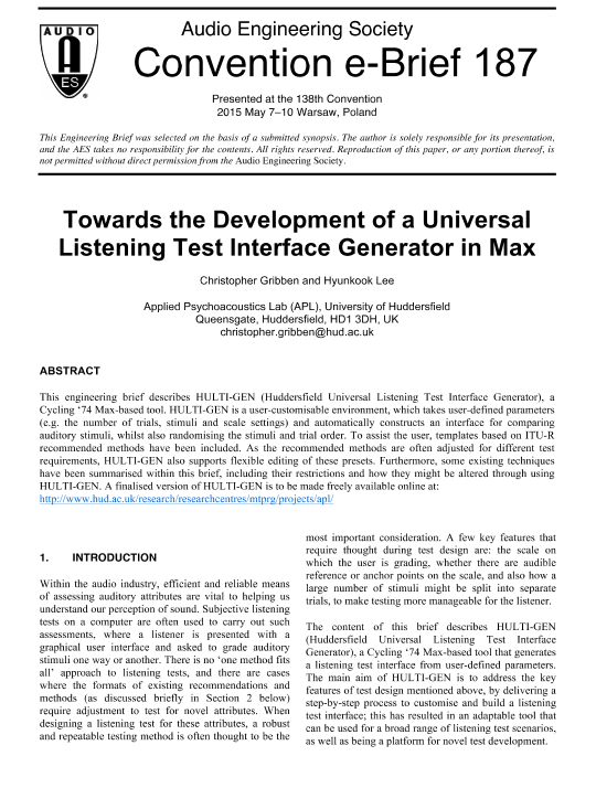 AES E-Library » Toward the Development of a Universal