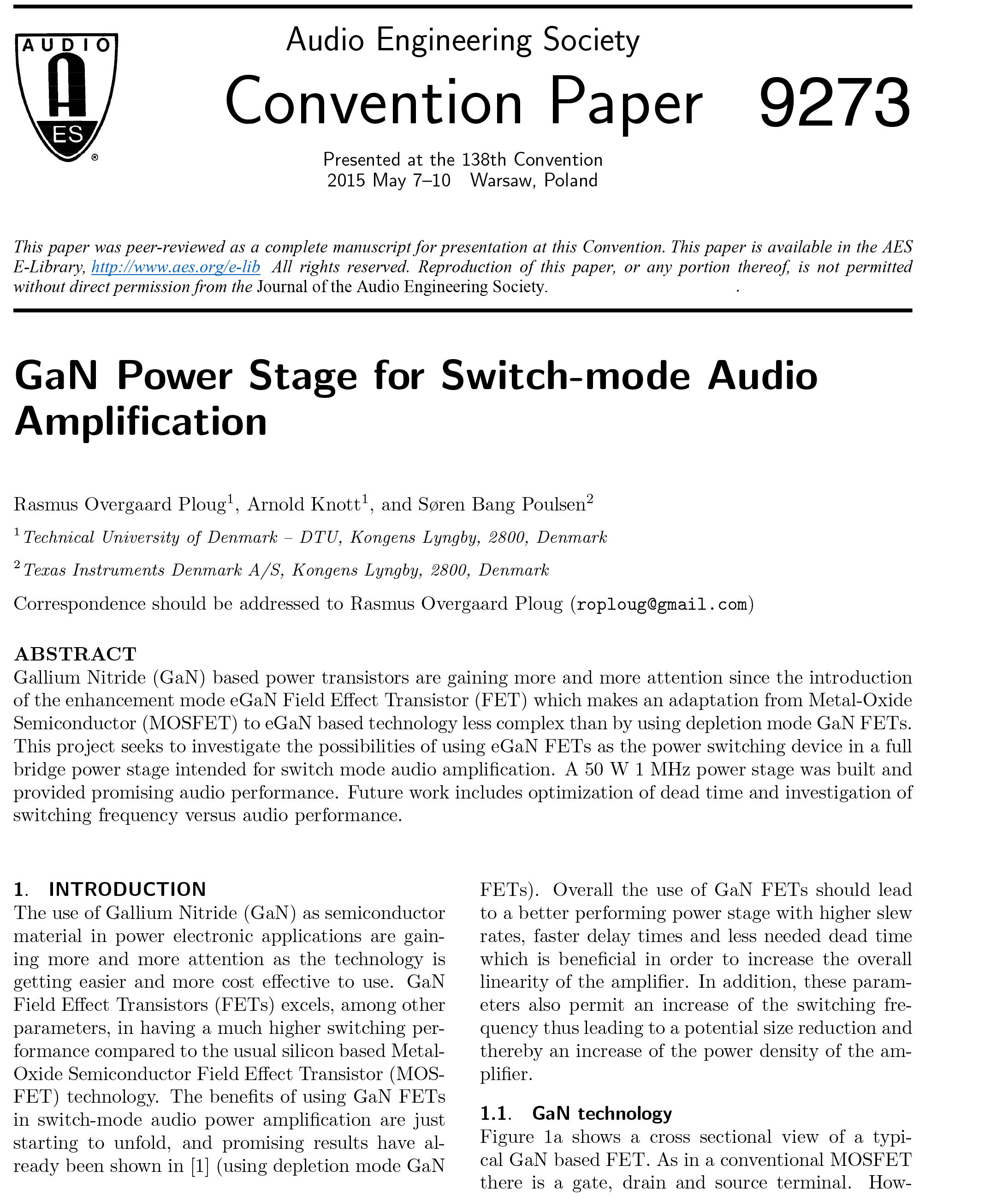 Aes E Library Gan Power Stage For Switch Mode Audio Amplification Of An And Gate All That Needs To Be Added Is Another
