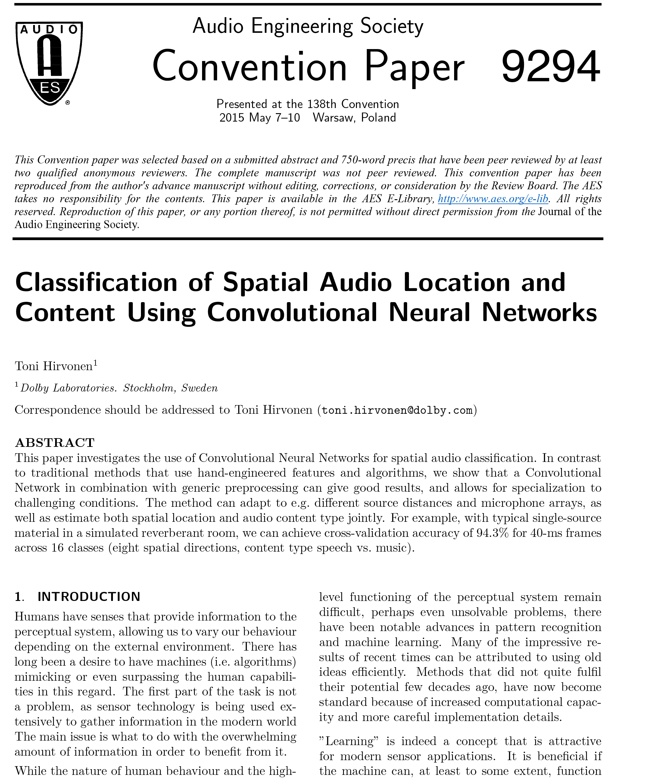 AES E-Library » Classification of Spatial Audio Location and