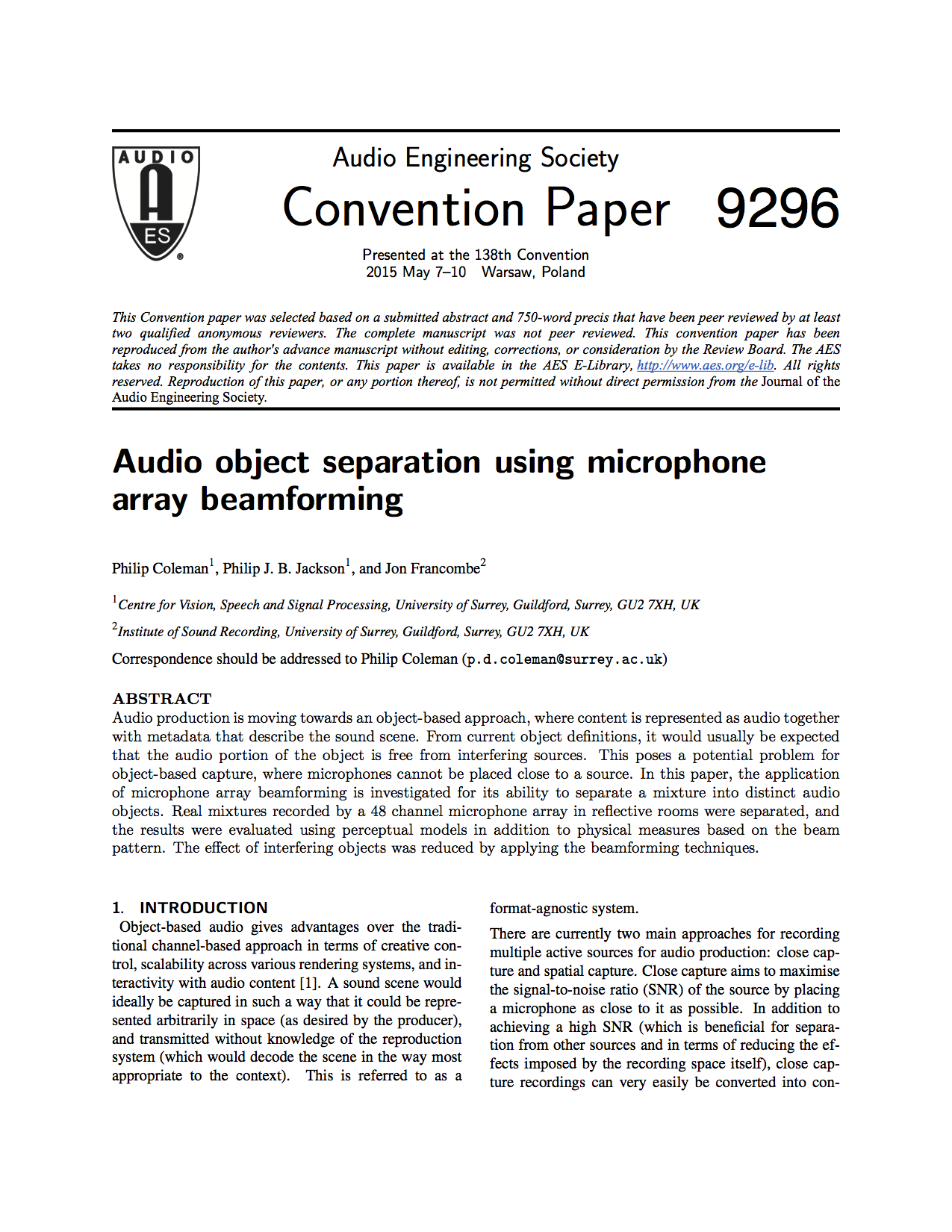 AES E-Library » Audio Object Separation Using Microphone
