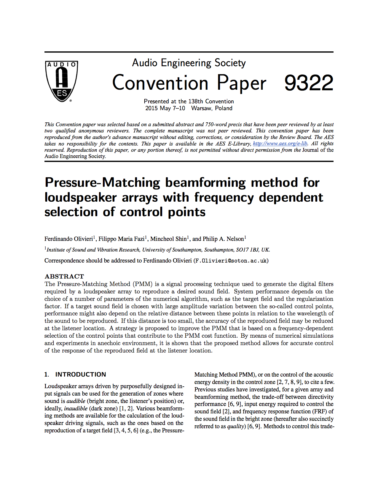 AES E-Library » Pressure-Matching Beamforming Method for
