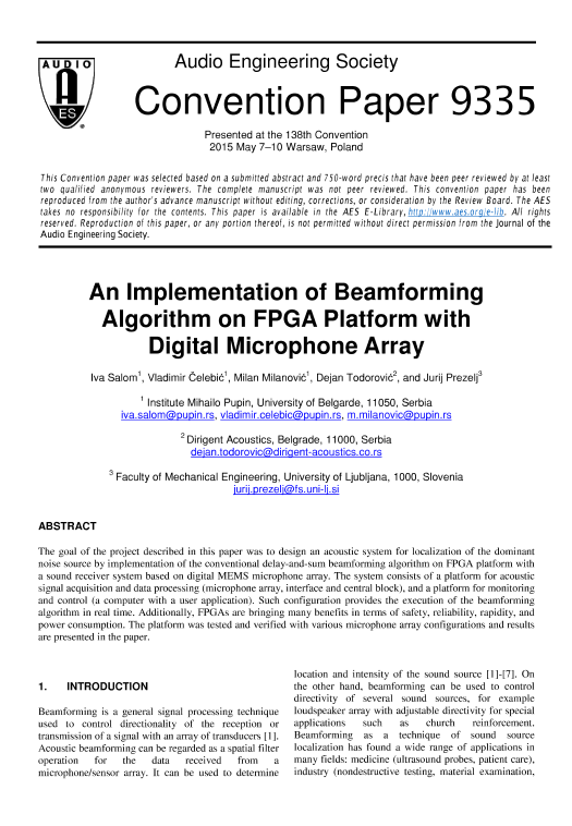 AES E-Library » An Implementation of Beamforming Algorithm