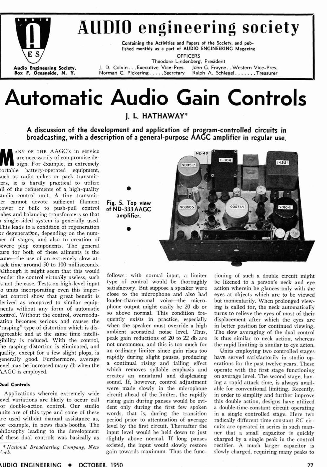 AES E-Library » Automatic Audio Gain Controls, Part 2