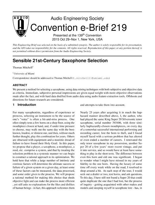 AES E-Library » Sensible 21st Century Saxophone Selection