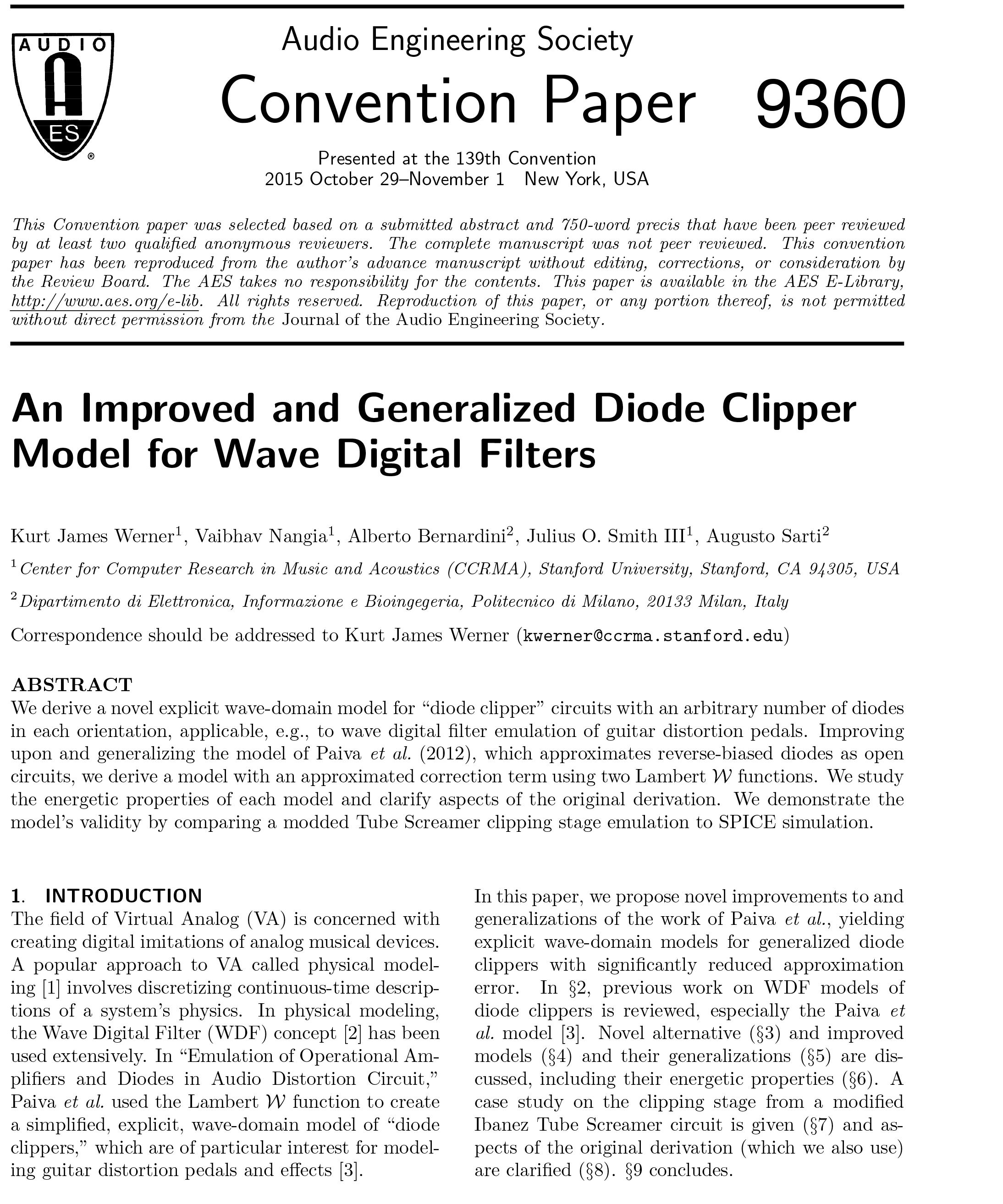 AES E-Library » An Improved and Generalized Diode Clipper Model for