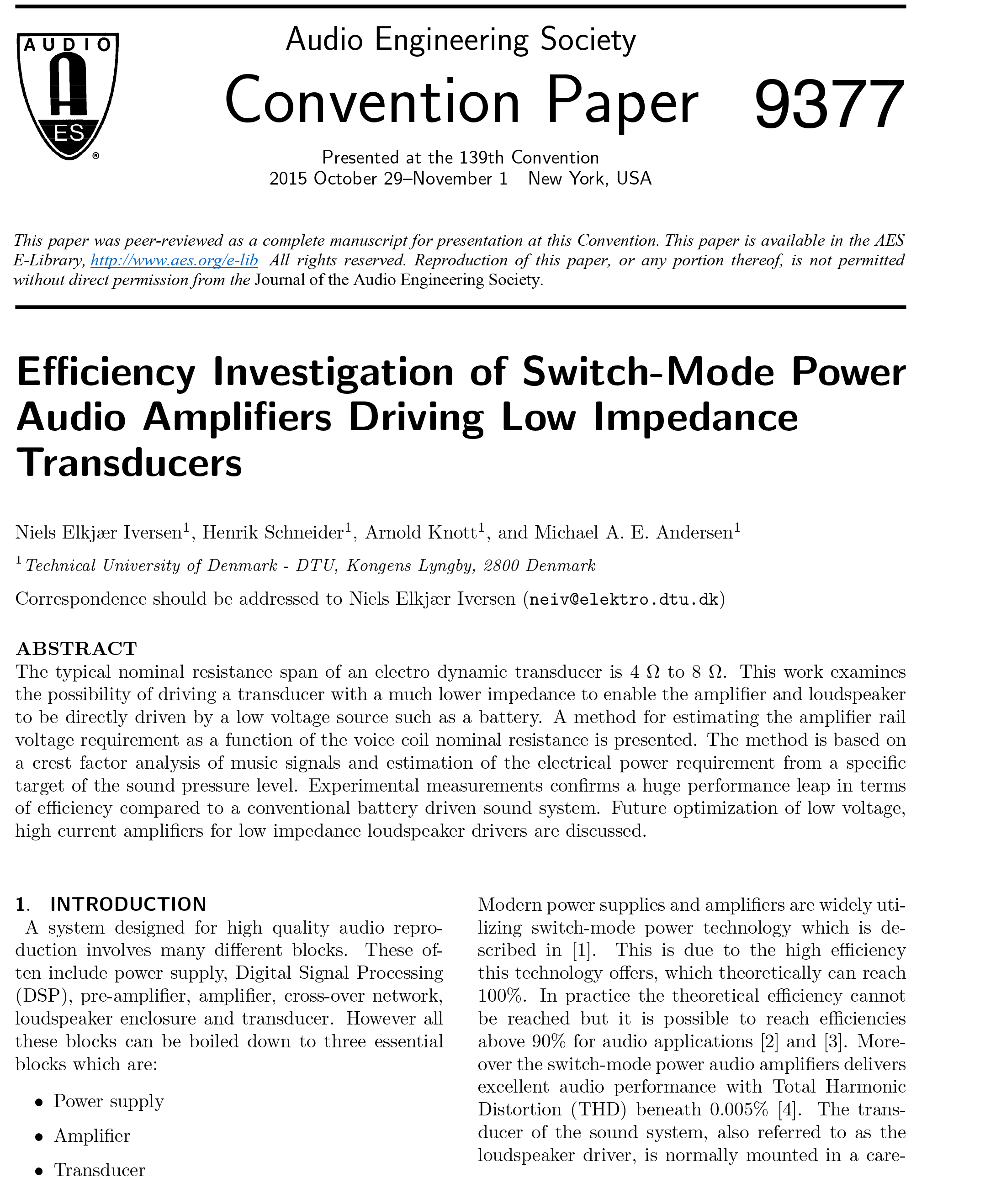 AES E-Library » Efficiency Investigation of Switch-Mode