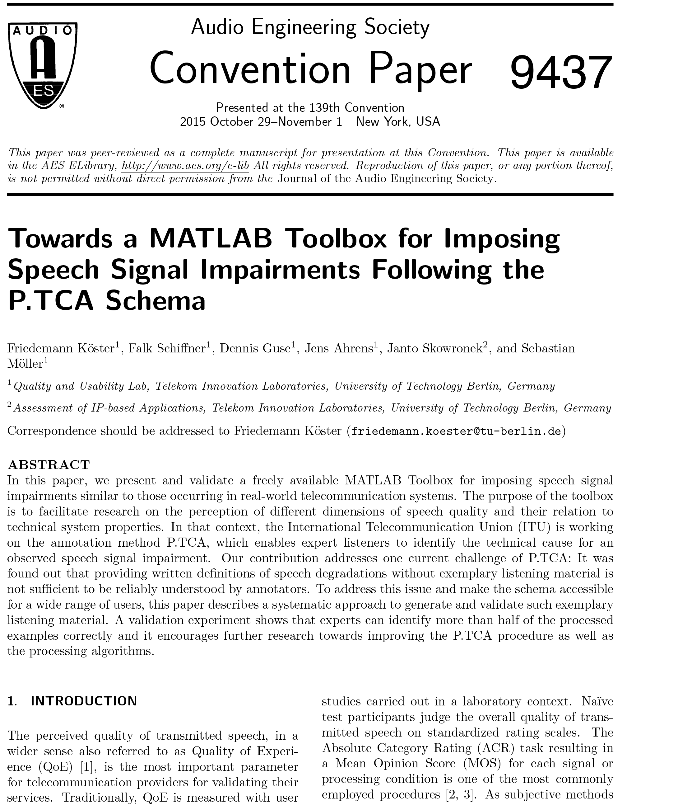 AES E-Library » Towards a MATLAB Toolbox for Imposing Speech
