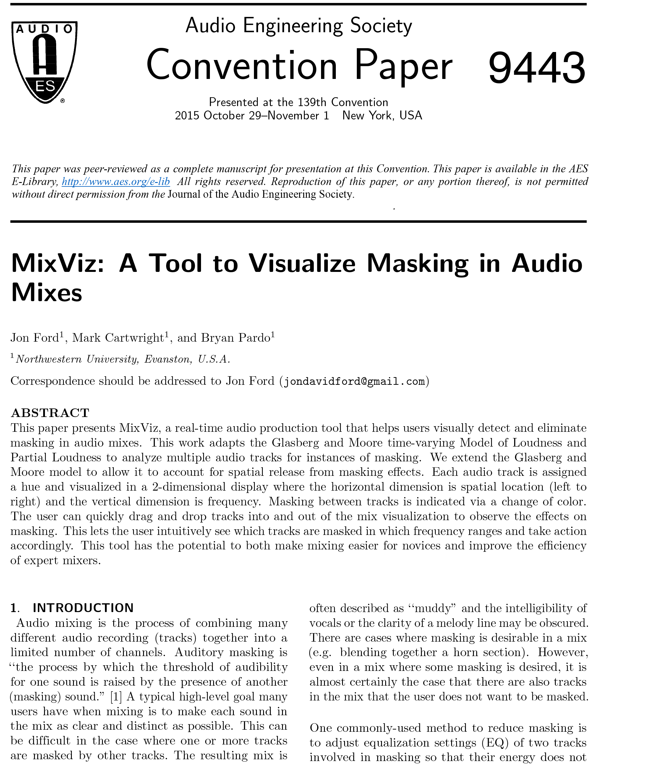 AES E-Library » MixViz: A Tool to Visualize Masking in Audio