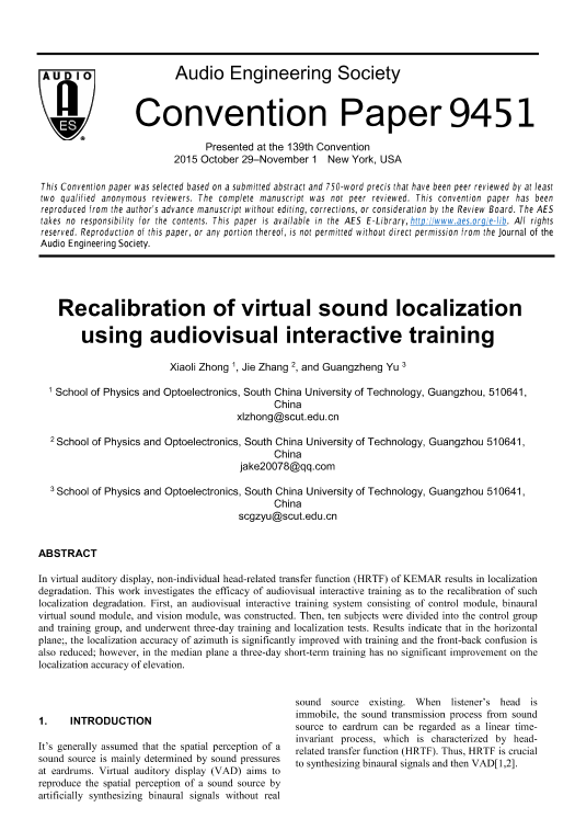 AES E-Library » Recalibration of Virtual Sound Localization