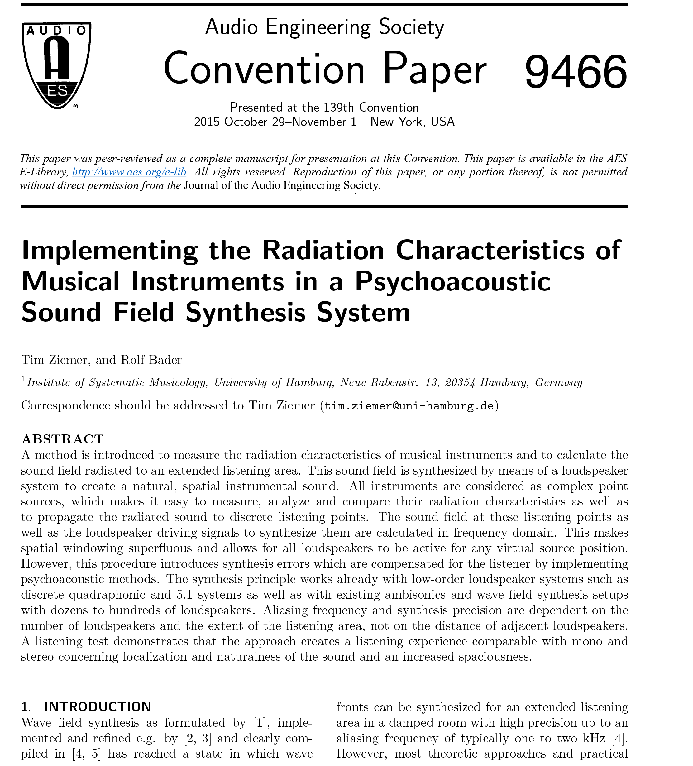 AES E-Library » Implementing the Radiation Characteristics of