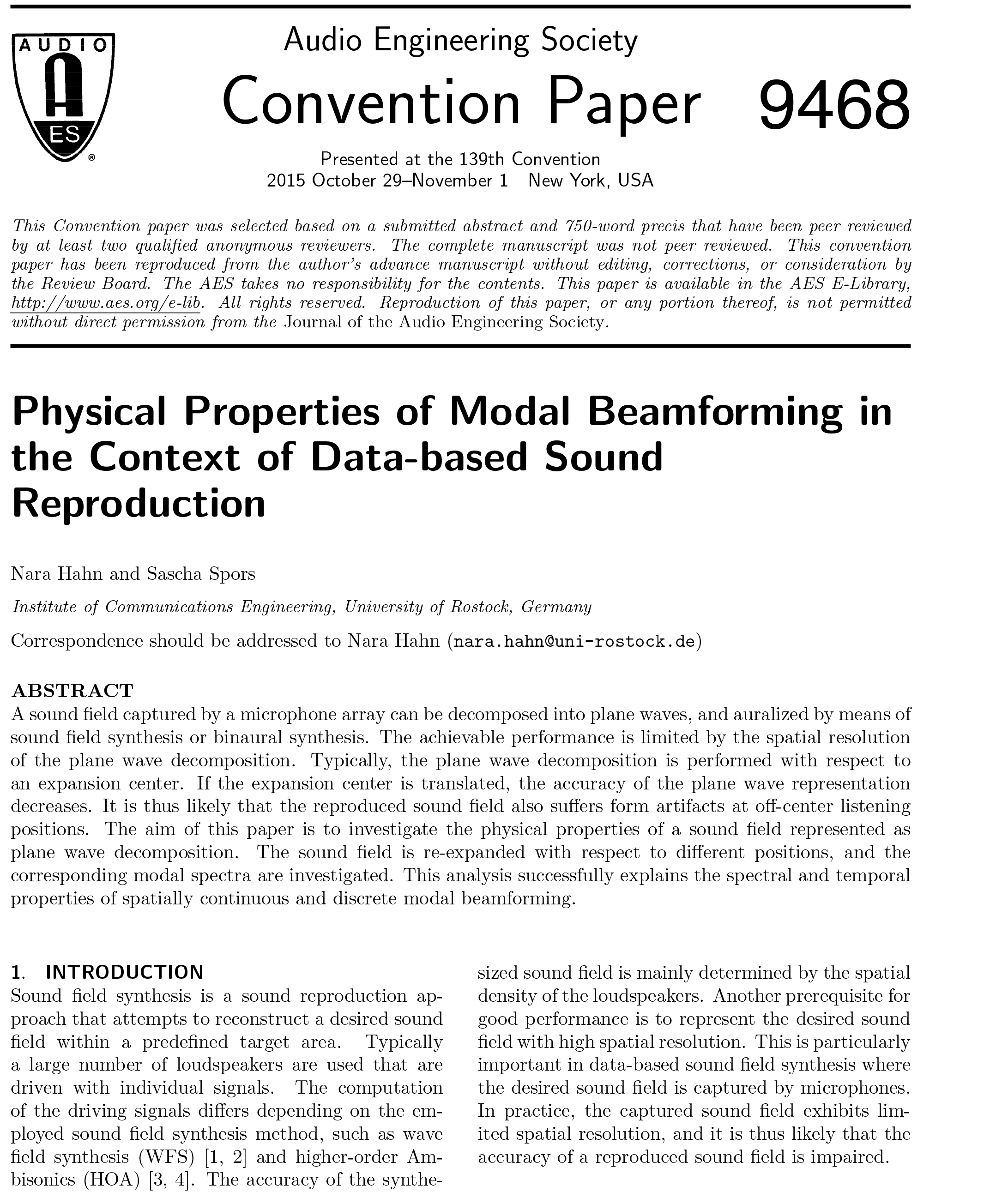 AES E-Library » Physical Properties of Modal Beamforming in the