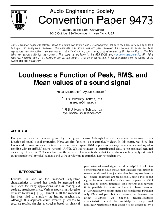 AES E-Library » Loudness: A Function of Peak, RMS, and Mean