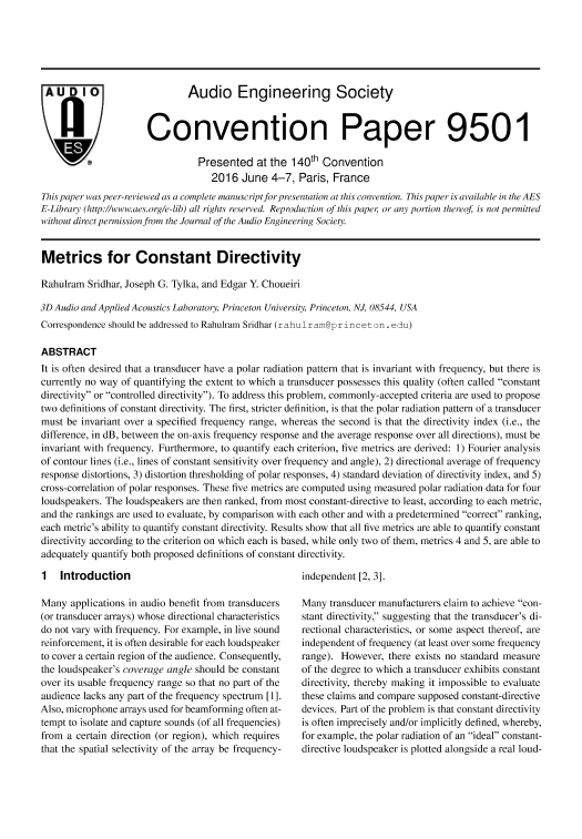 Aes E Library Metrics For Constant Directivity