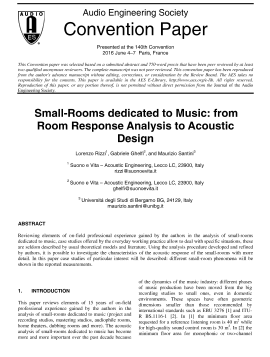 AES E-Library » Small-Rooms Dedicated to Music: From Room