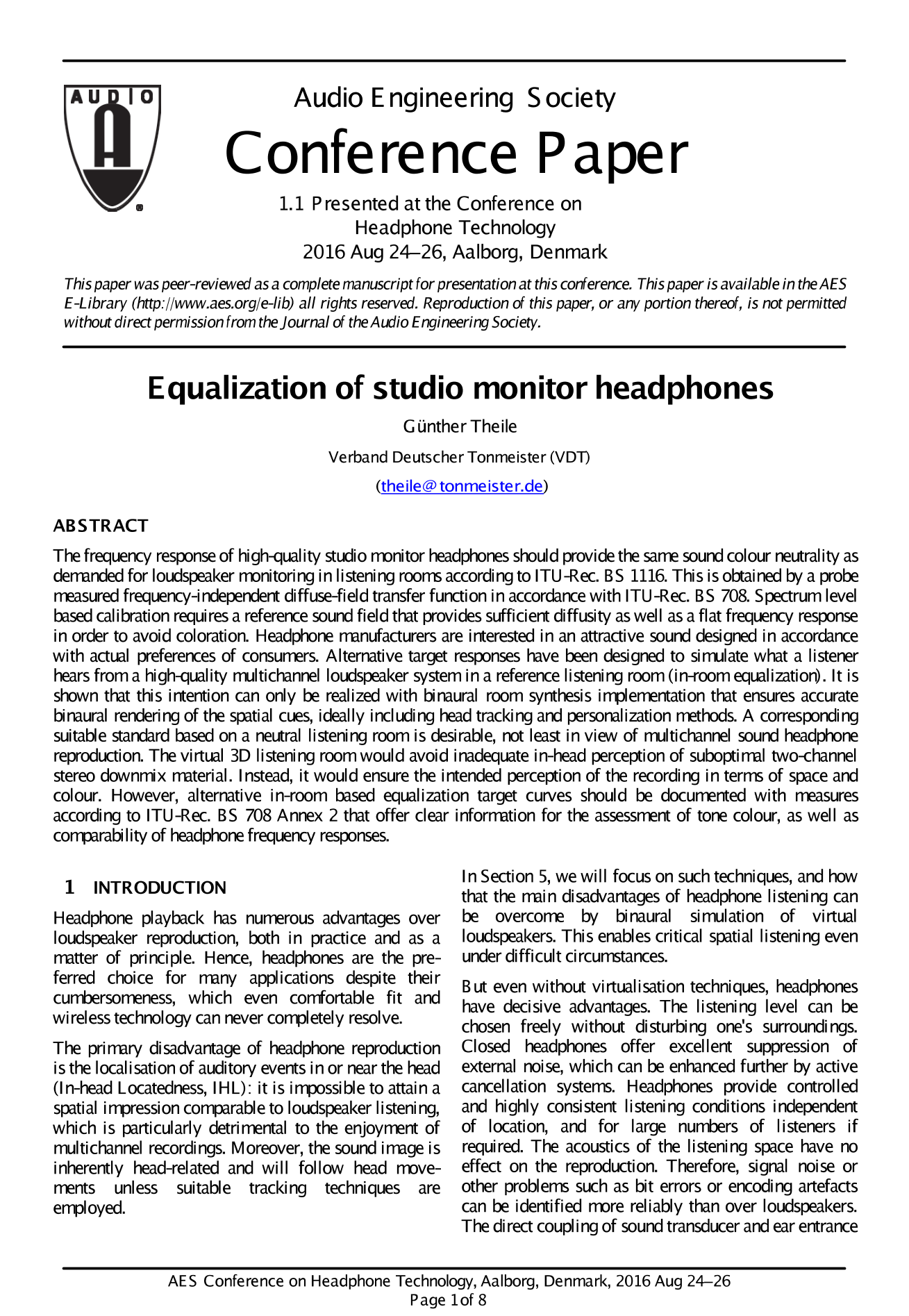 AES E-Library » Equalization of Studio Monitor Headphones
