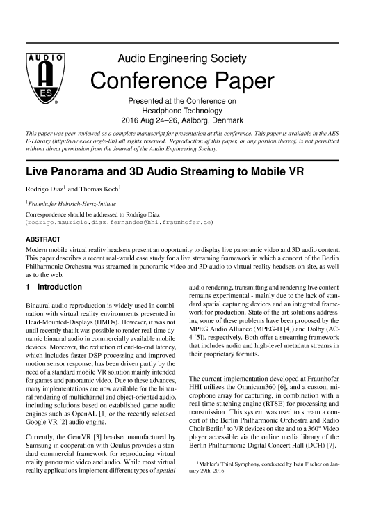 AES E-Library » Live Panorama and 3D Audio Streaming to Mobile VR