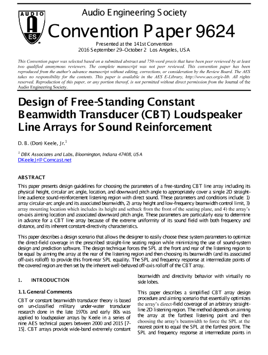 AES E-Library » Design of Free-Standing Constant Beamwidth
