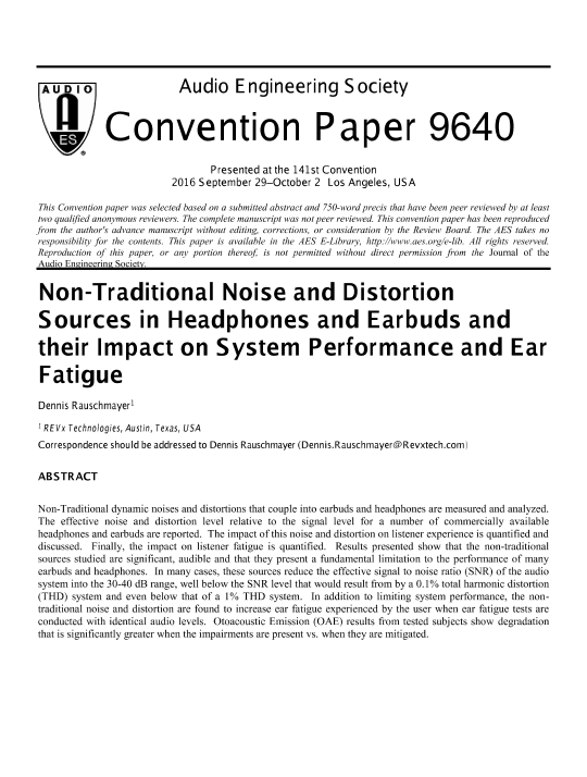 Aes E Library Non Traditional Noise And Distortion Sources In