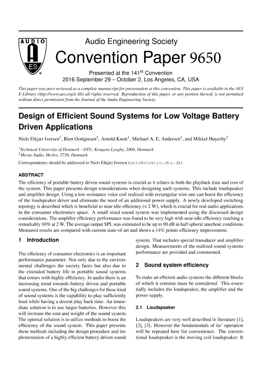 Aes E Library Design Of Efficient Sound Systems For Low Voltage