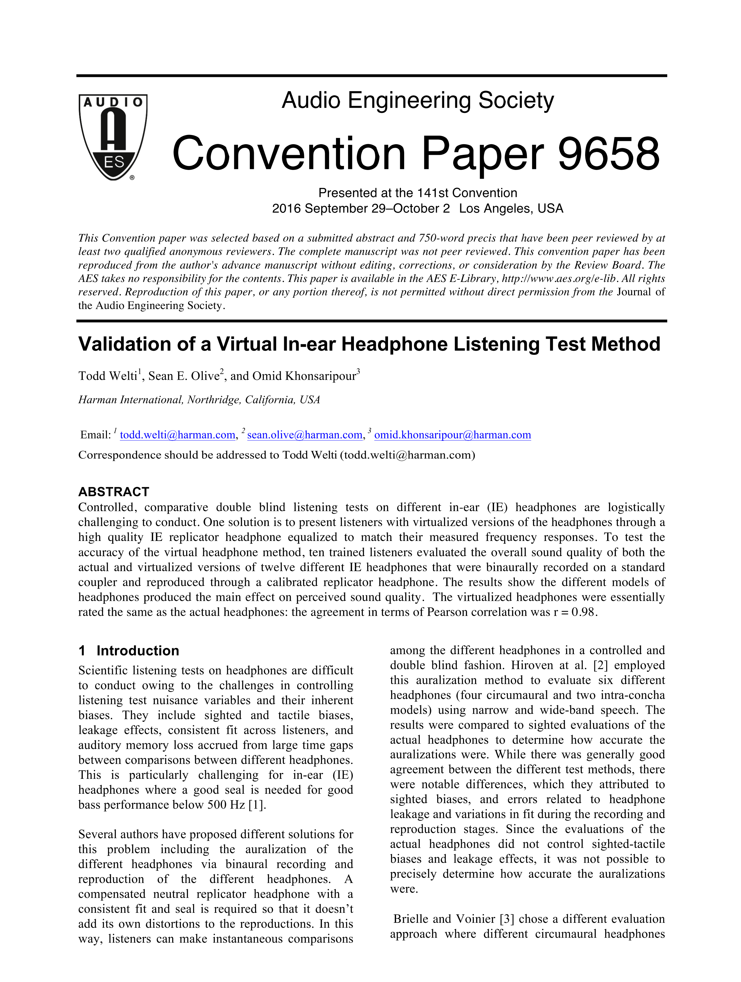 AES E-Library » Validation of a Virtual In-Ear Headphone Listening