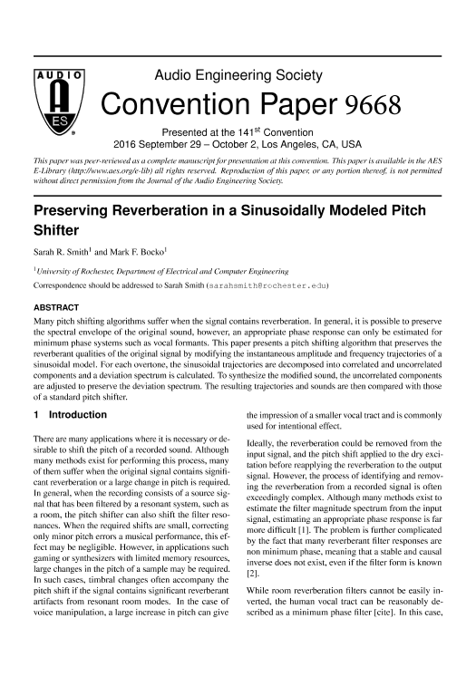 AES E-Library » Preserving Reverberation in a Sinusoidally