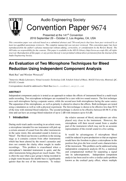 aes e library an evaluation of two microphone techniques for bleed reduction using independent component analysis