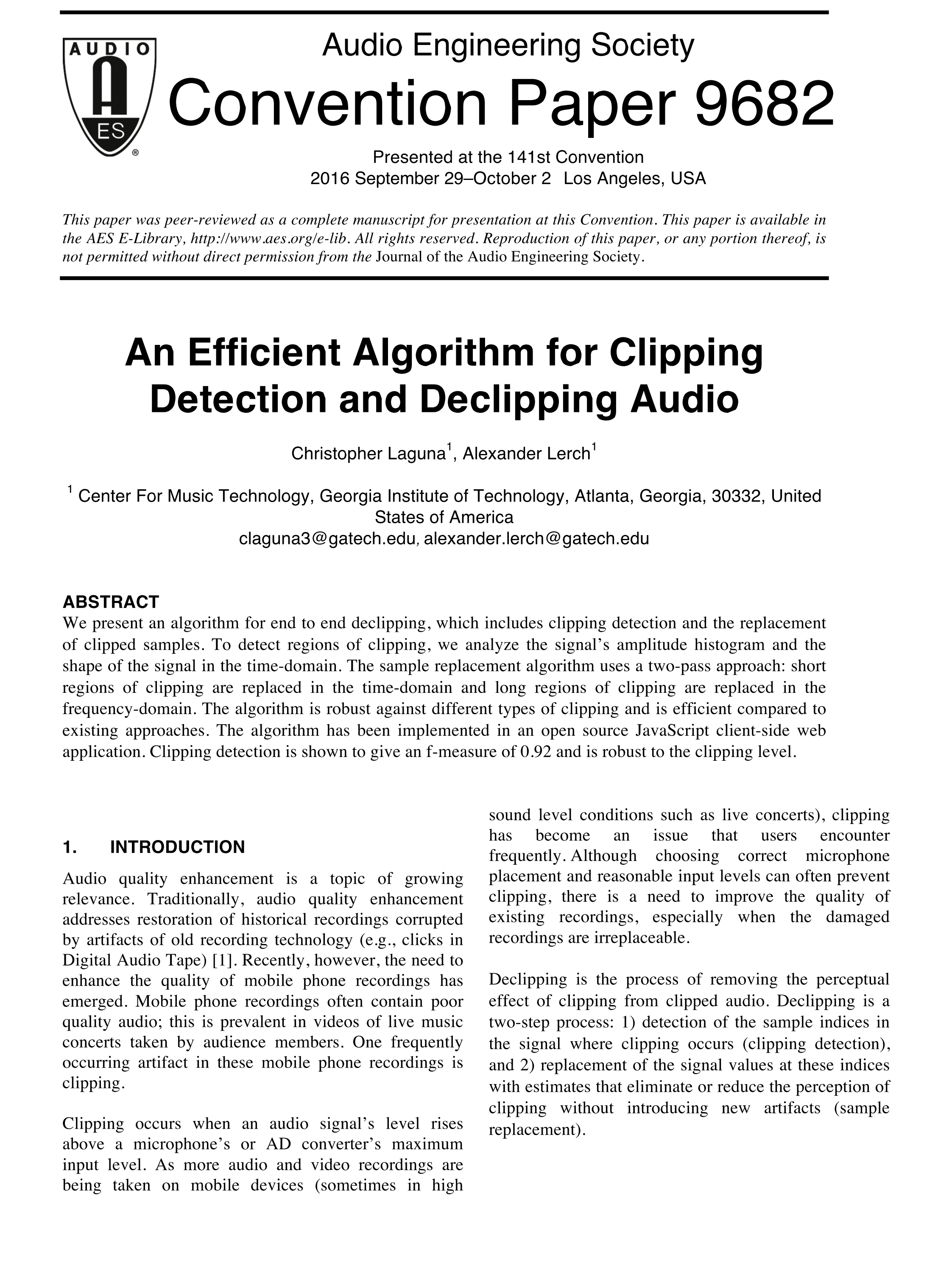 AES E-Library » An Efficient Algorithm for Clipping