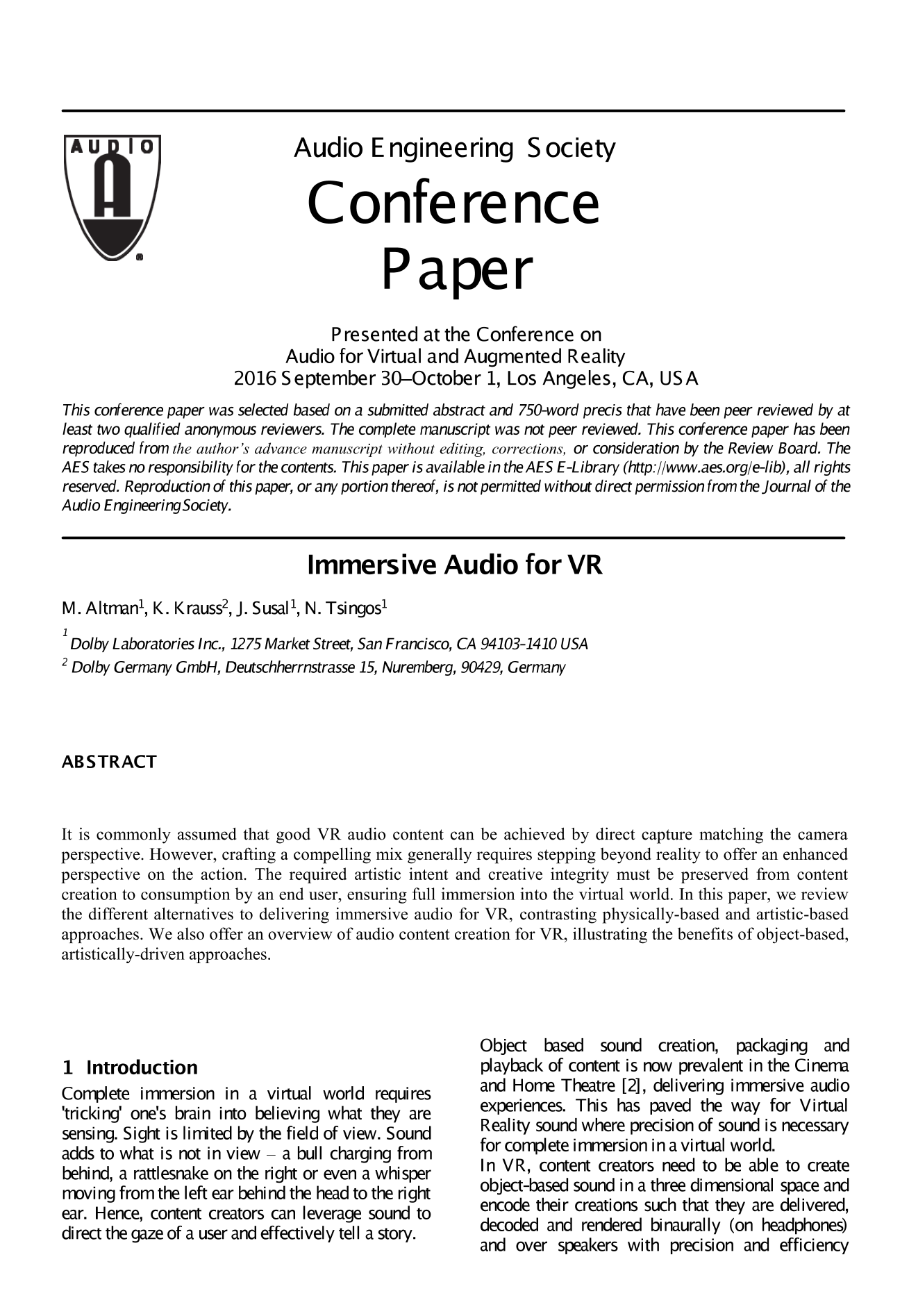 AES E-Library » Immersive Audio for VR