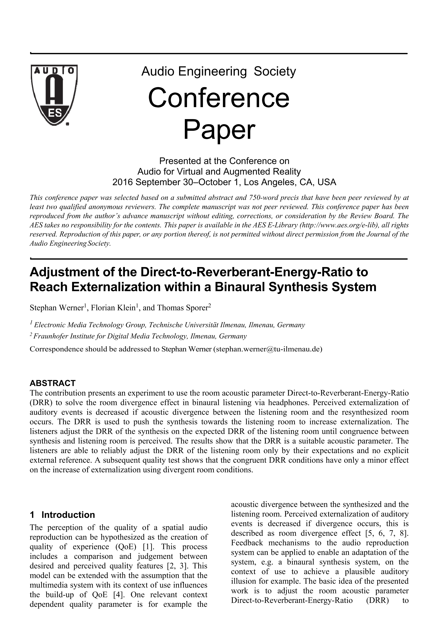 AES E-Library » Adjustment of the direct-to-Reverberant-Energy ...