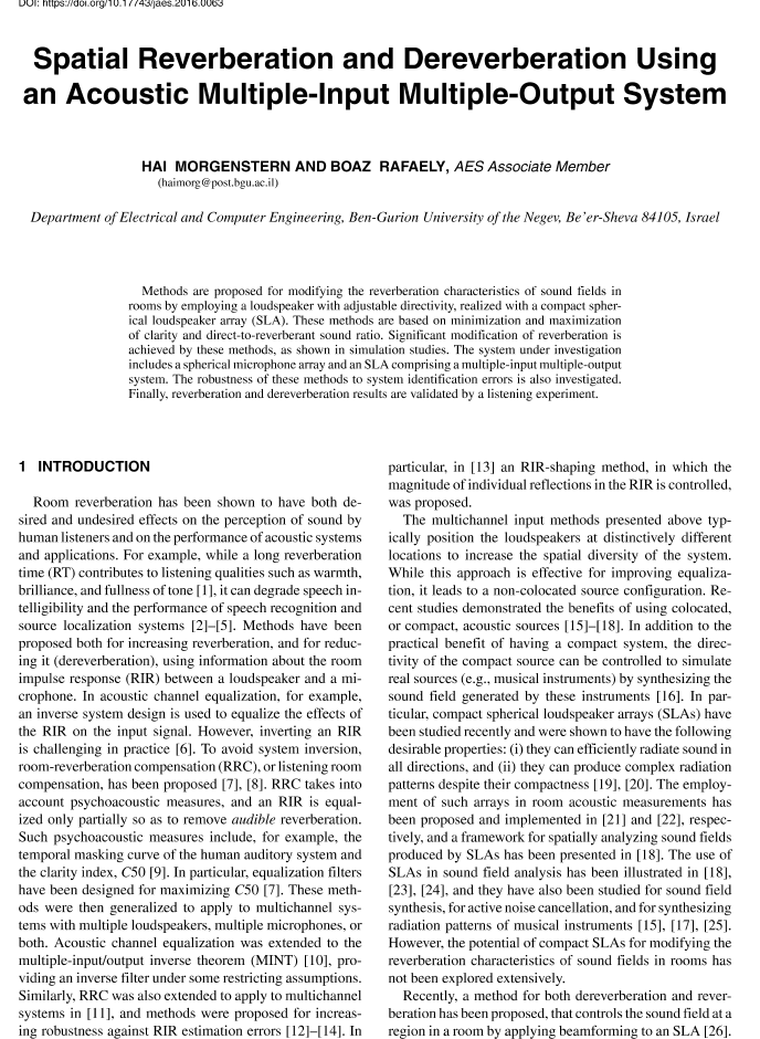 aes e library spatial reverberation and dereverberation using an acoustic multiple input multiple output system - Coloration Hnn