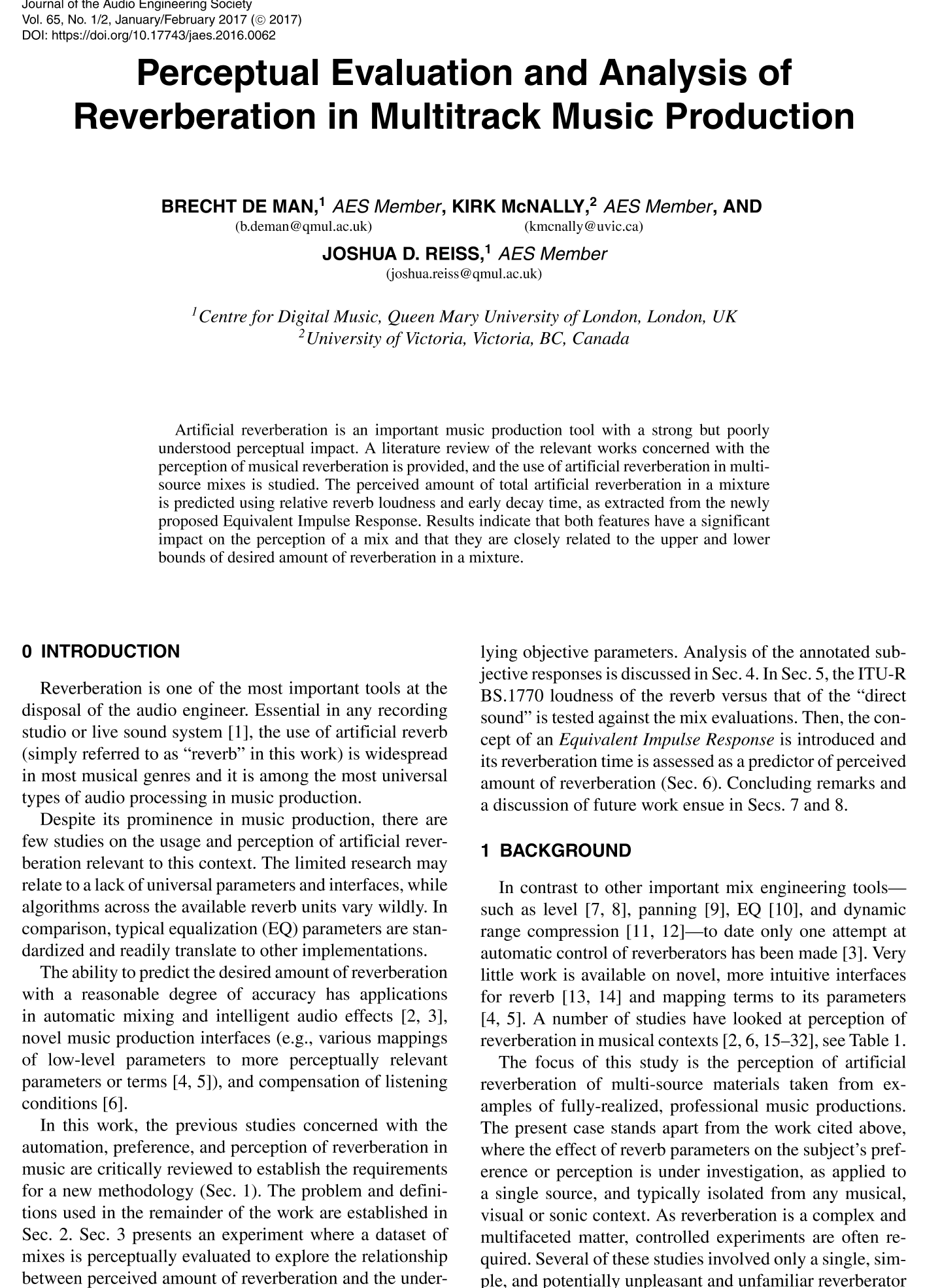 AES E-Library » Perceptual Evaluation and Analysis of Reverberation