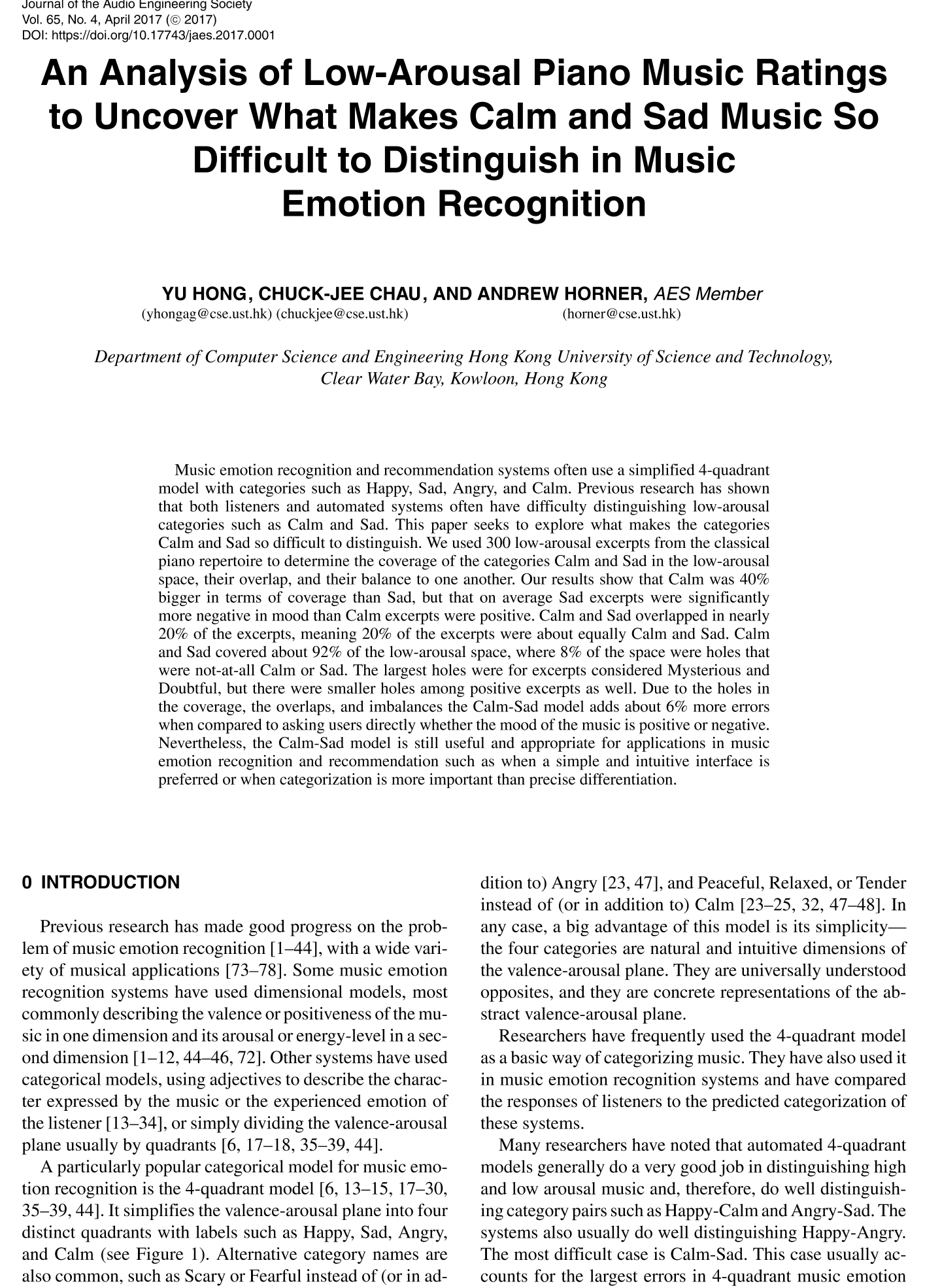 AES E-Library » An Analysis of Low-Arousal Piano Music