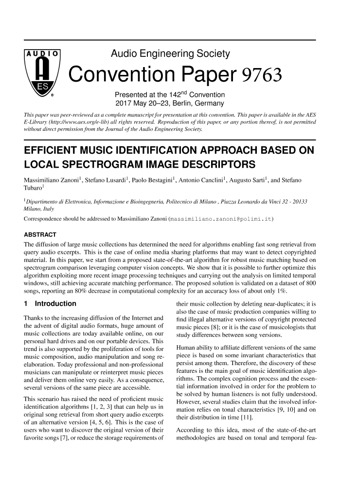 AES E-Library » Efficient Music Identification Approach