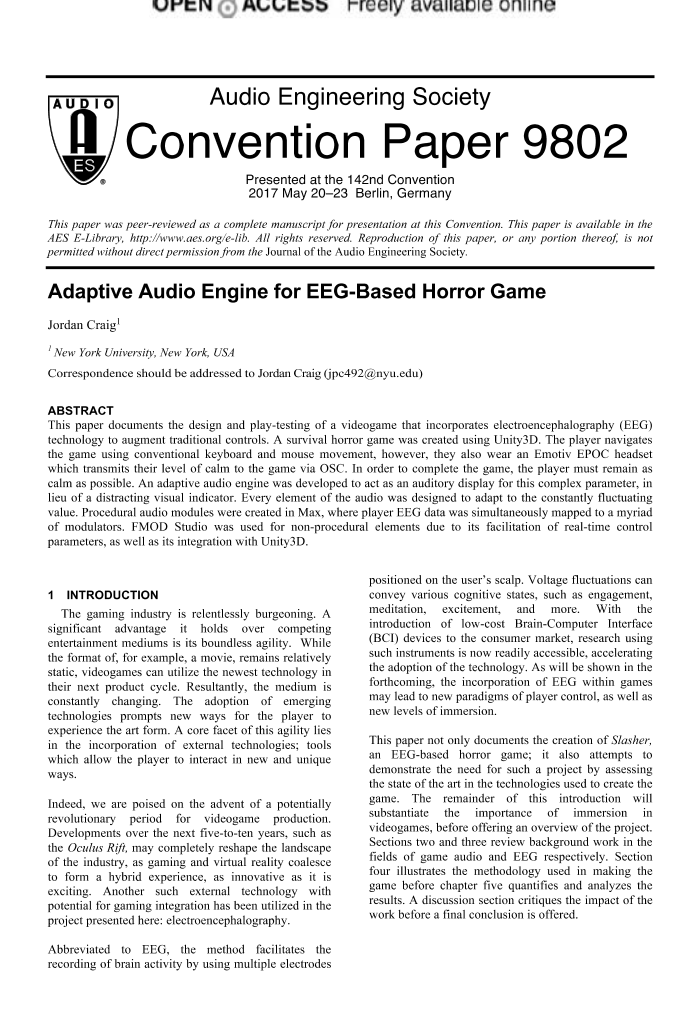 AES E-Library » Adaptive Audio Engine for EEG-Based Horror Game
