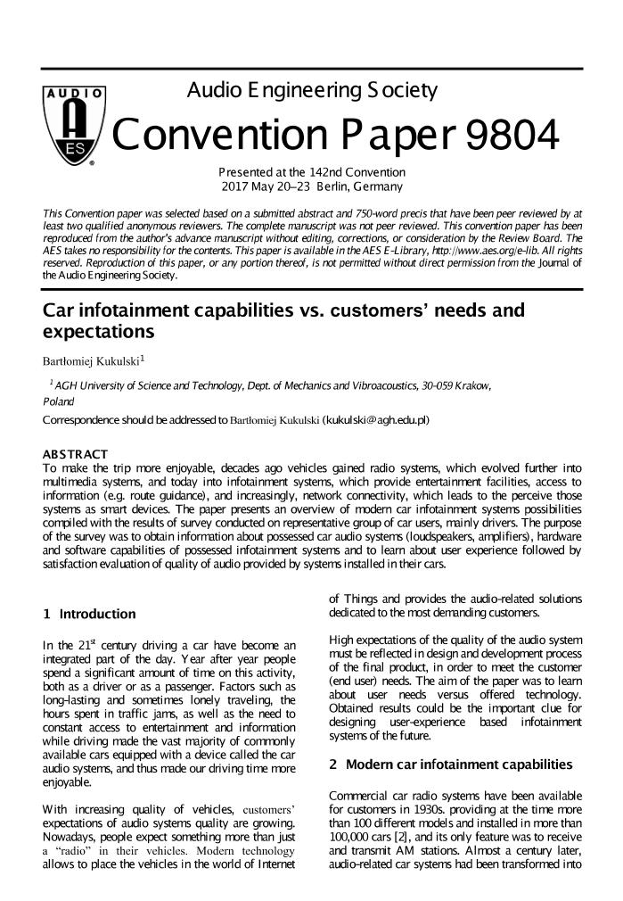 AES E-Library » Car Infotainment Systems Capabilities vs