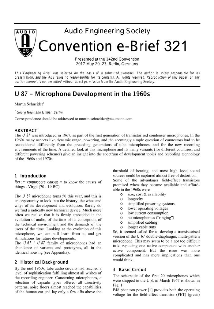AES E-Liry » U 87—Microphone Development in the 1960s on
