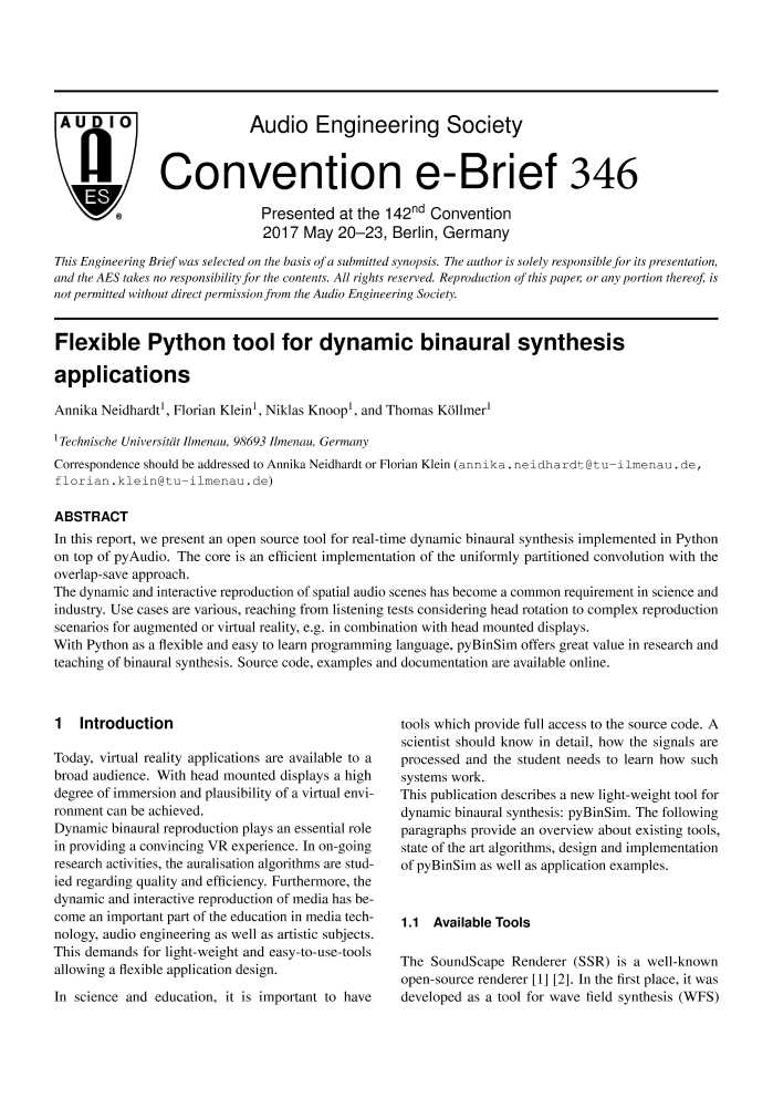AES E-Library » Flexible Python Tool for Dynamic Binaural