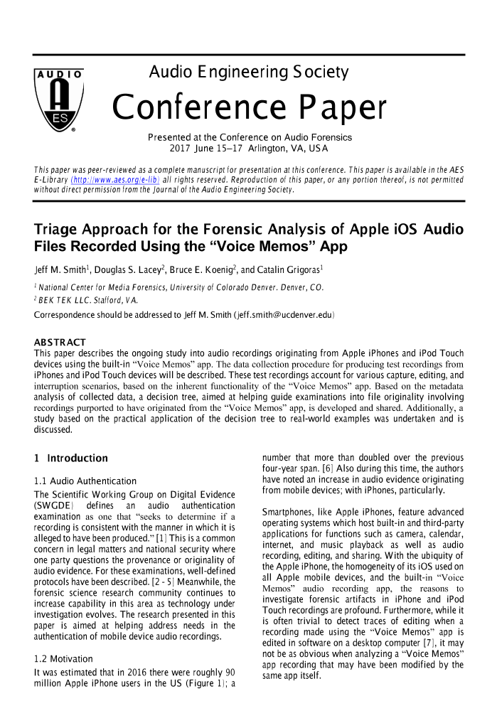 Aes E Library Triage Approach For The Forensic Analysis Of Apple Ios Audio Files Recorded Using The Voice Memos App