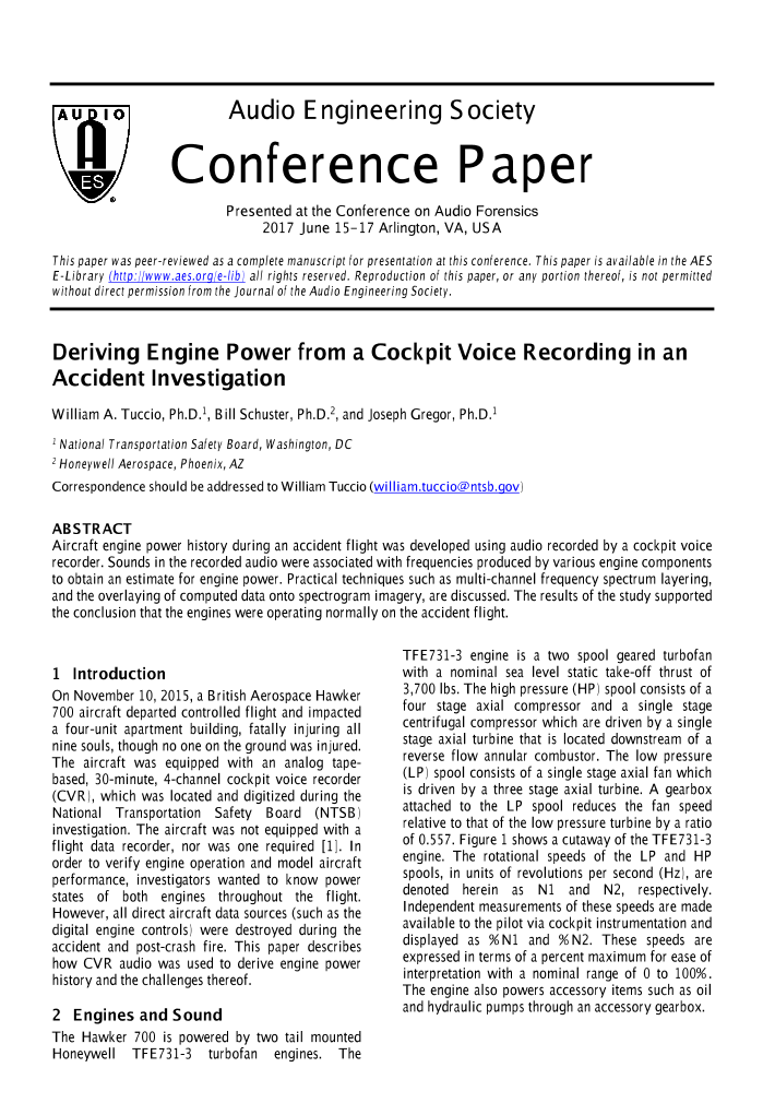 AES E-Library » Deriving Engine Power from a Cockpit Voice Recording