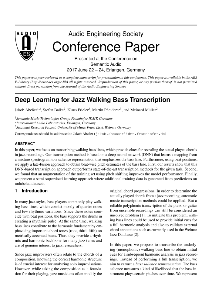 AES E-Library » Deep Learning for Jazz Walking Bass
