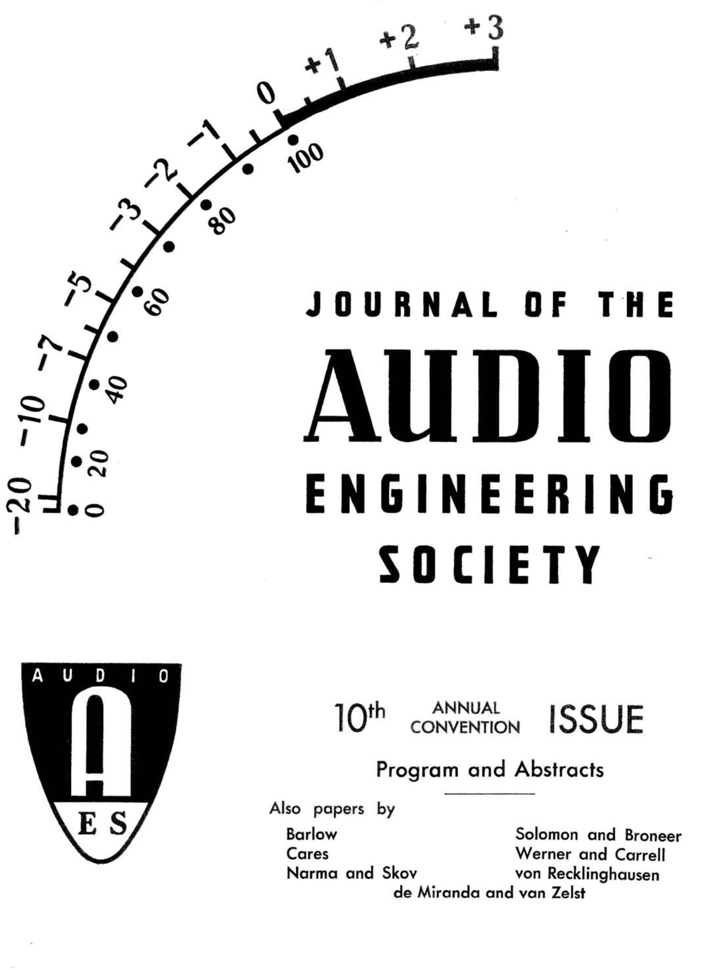 AES E-Library » Complete Journal: Volume 6 Issue 4