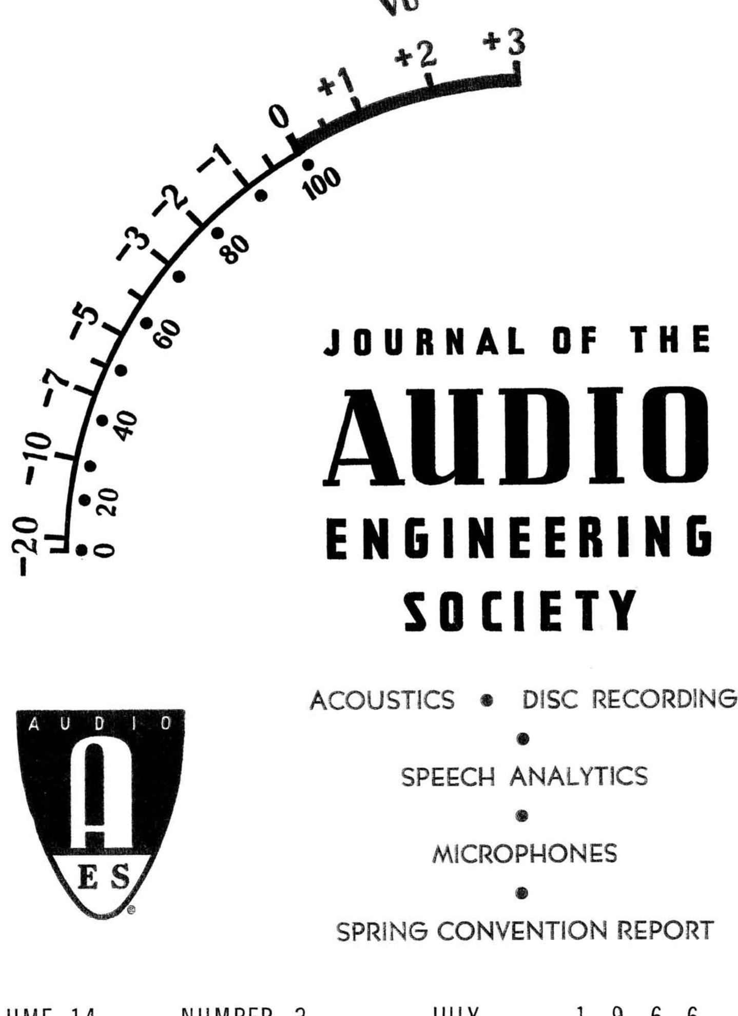 AES E-Library » Complete Journal: Volume 14 Issue 3