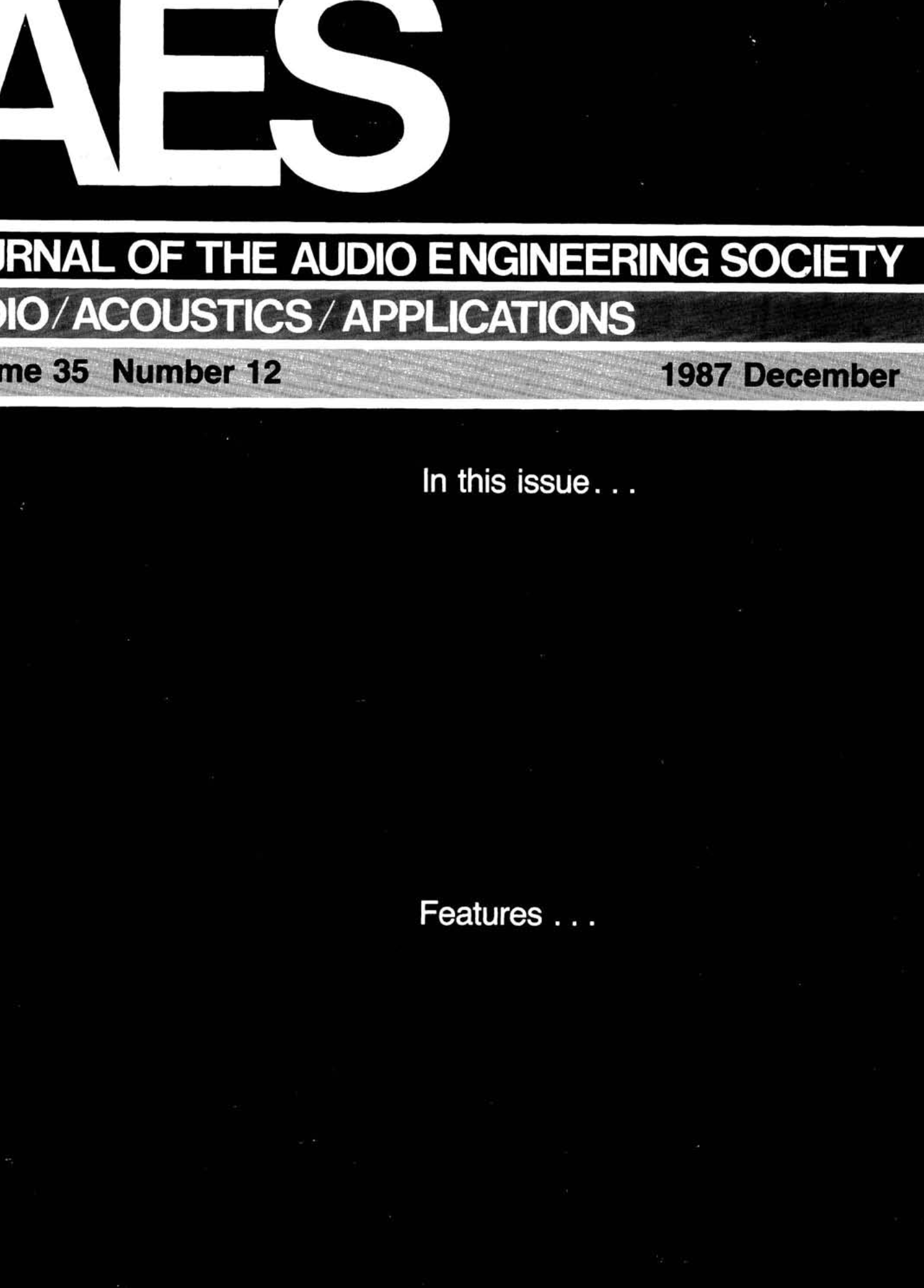 AES E-Library » Complete Journal: Volume 35 Issue 12