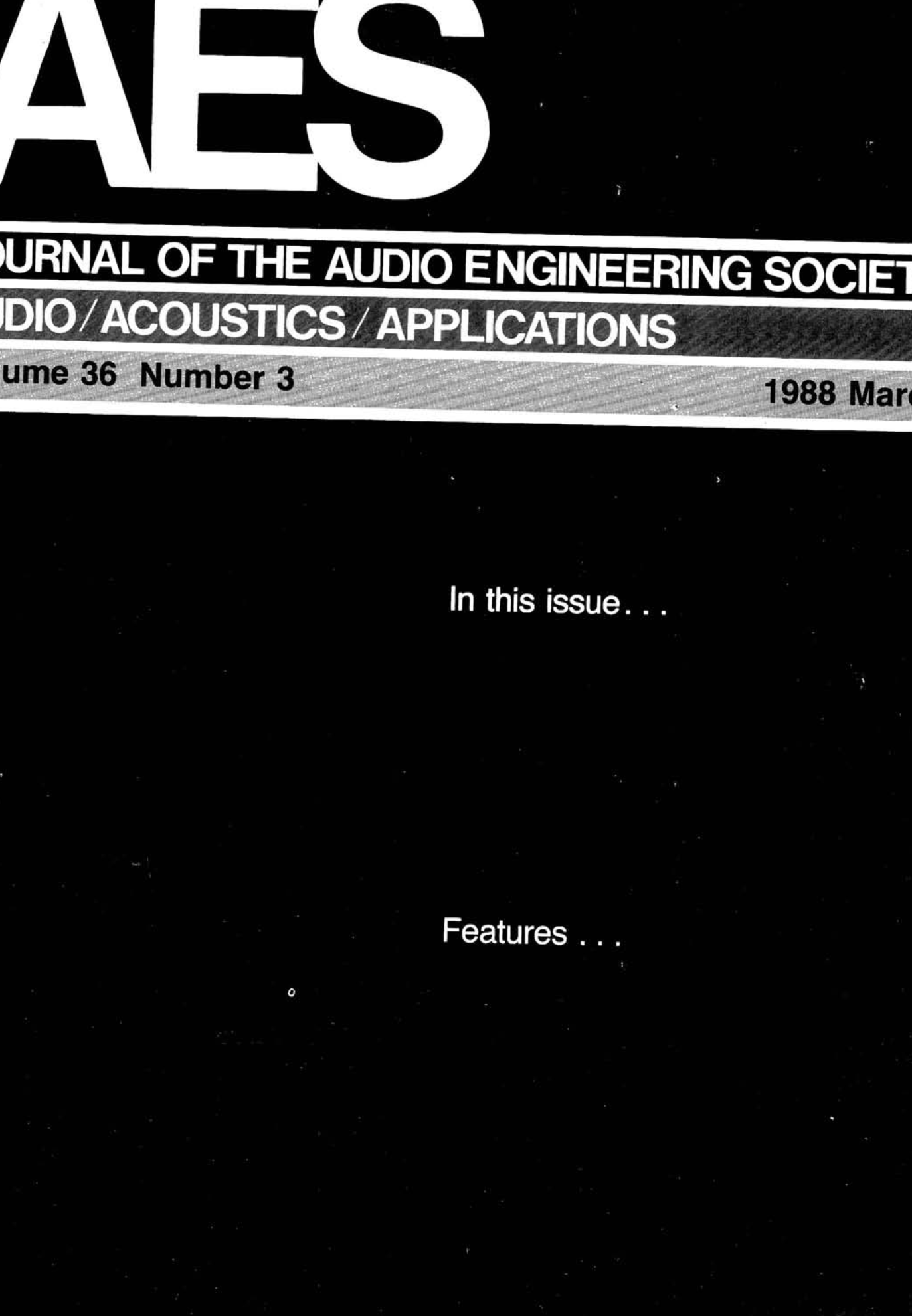 AES E-Library » Complete Journal: Volume 36 Issue 3