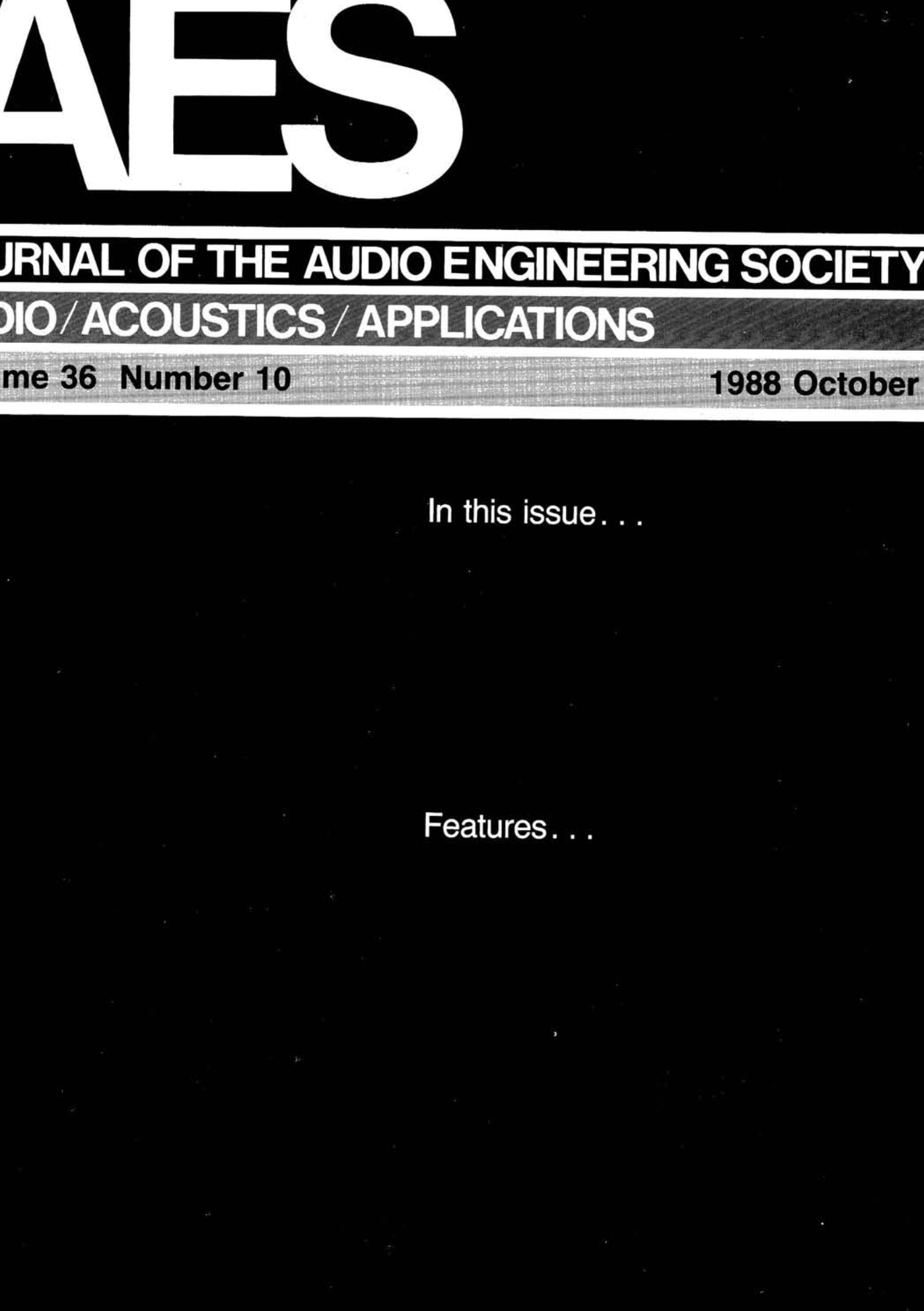 Aes E Library Complete Journal Volume 36 Issue 10